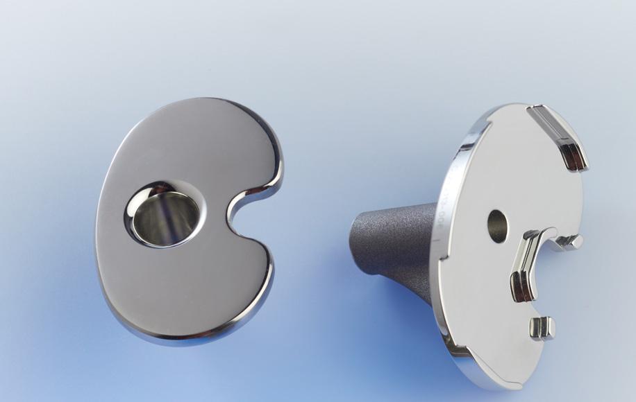 valence, embases tibiales, plateau fixe, plateau mobile, cobalt chrome, polissage automatique